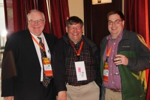 At Beer & Bull Welcoming Reception 2015 (L-R) Gary Blievernicht, WKAR-AM/FM/TV (East Lansing), Geary Morrill, AlphaMedia (Saginaw), and Eric Send, Midwest Communications (Traverse City).